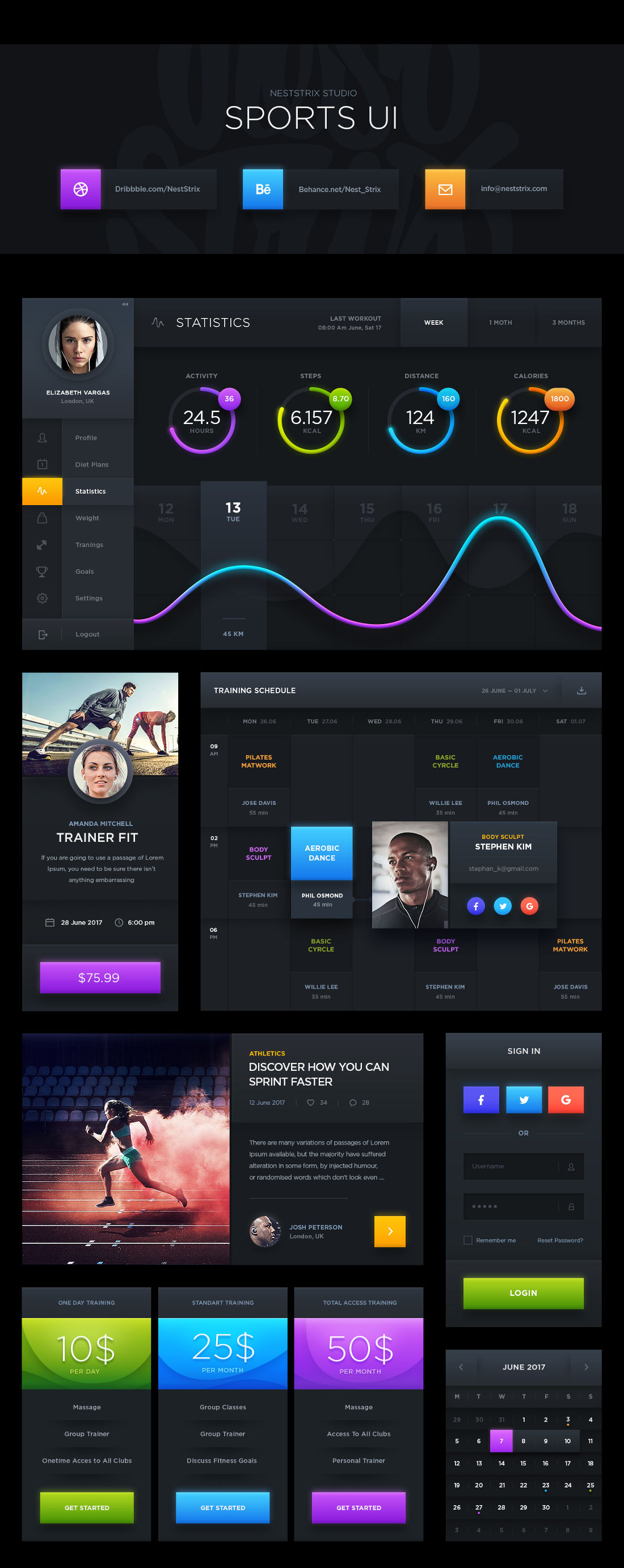 Free Dark Sports UI Kit