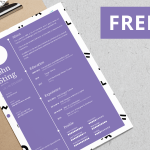 Free Purple Minimalist Resume Template (AI, EPS, SVG)