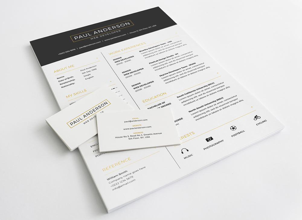 Free Resume Template (Plus Cover Letter, Business Card, PSD)