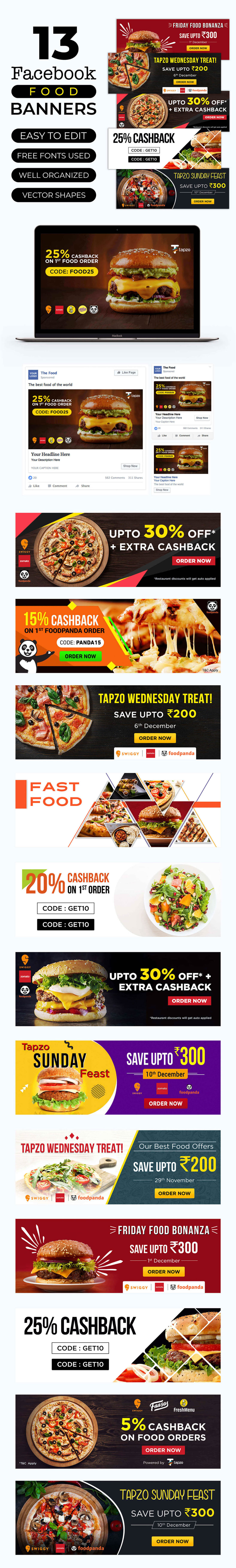 Facebook Food Banner Templates by Navin GuptaFacebook Food Banner Templates