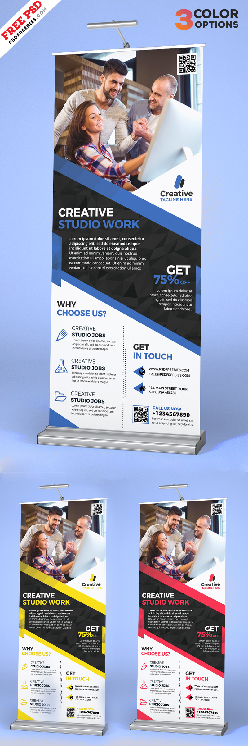 Free Corporate Roll Banner Set PSD Template
