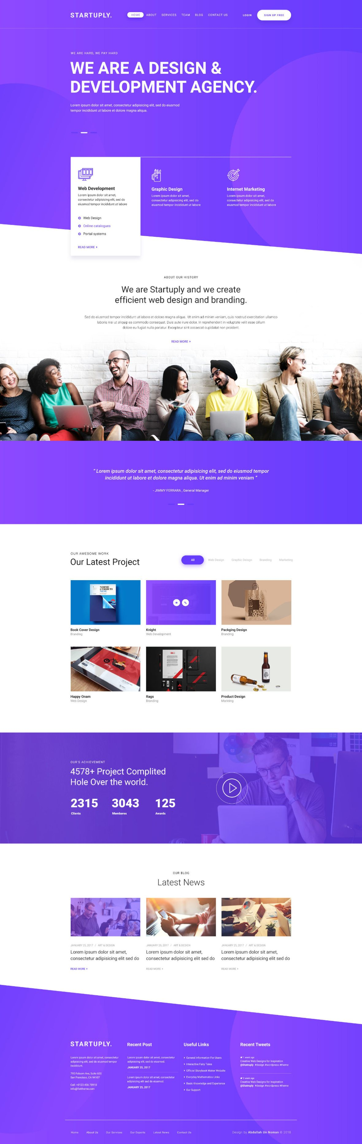Startuply Agency Landing Page PSD Template