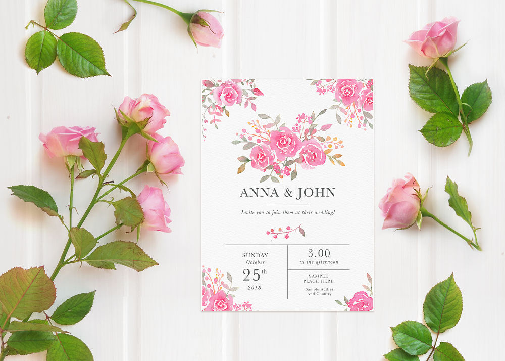 FREE mockup flatlay with pink roses