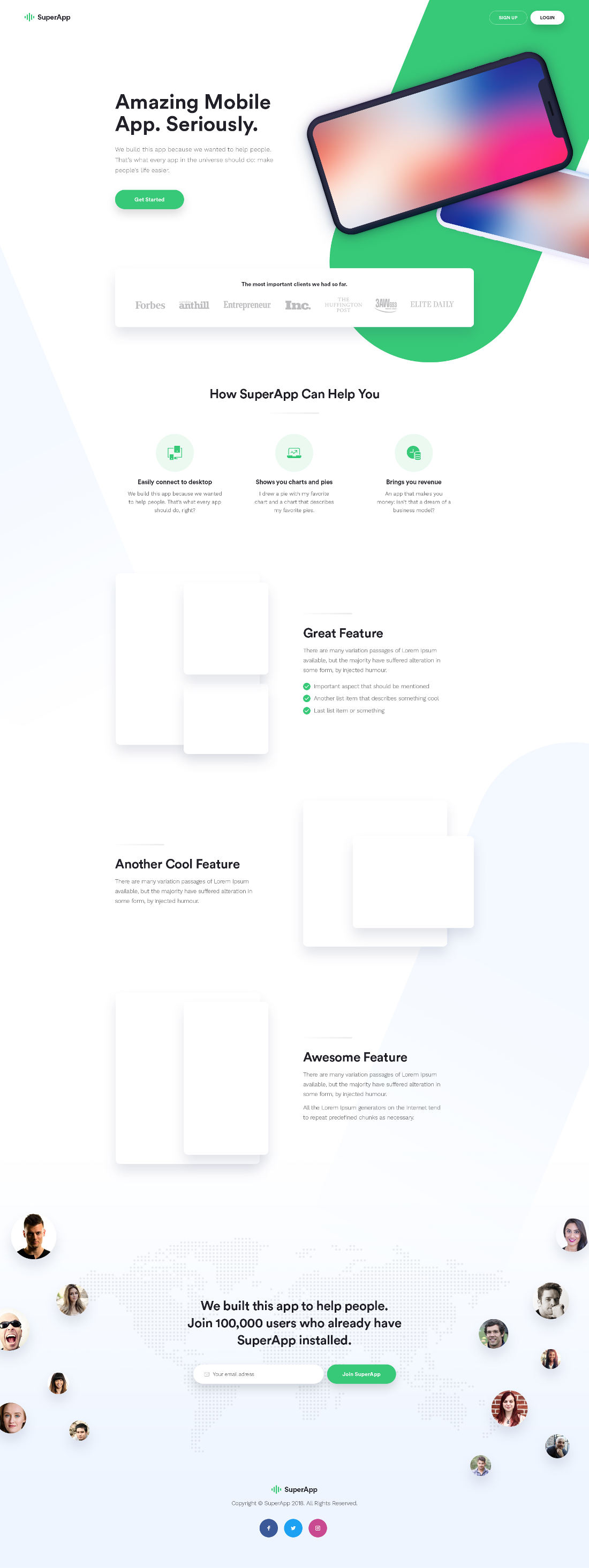 Free SuperApp Landing Page PSD by Madalin Duca