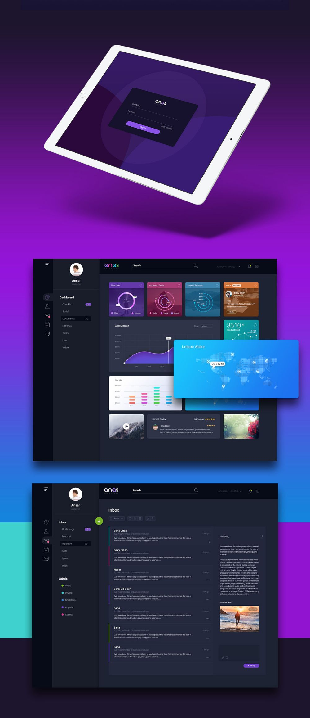 Free Anas Dashboard UI Template