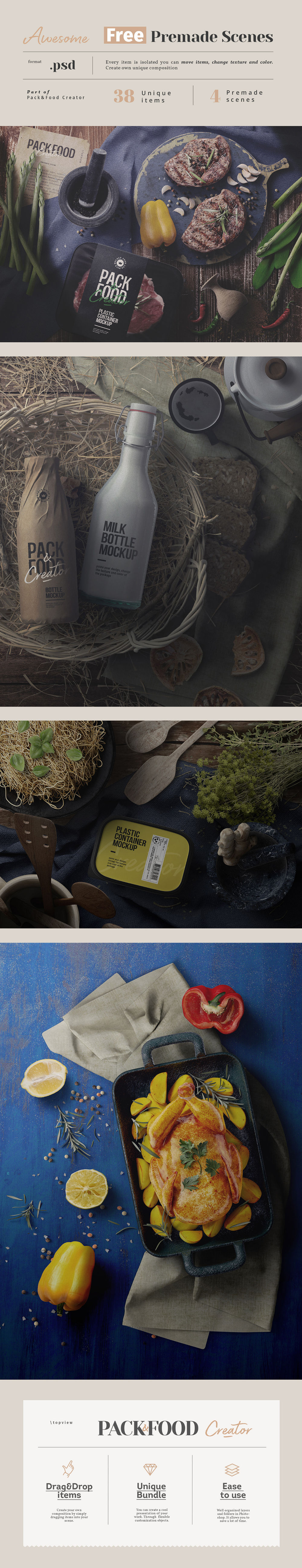 Free .PSD Food&Pack Premade Scenes