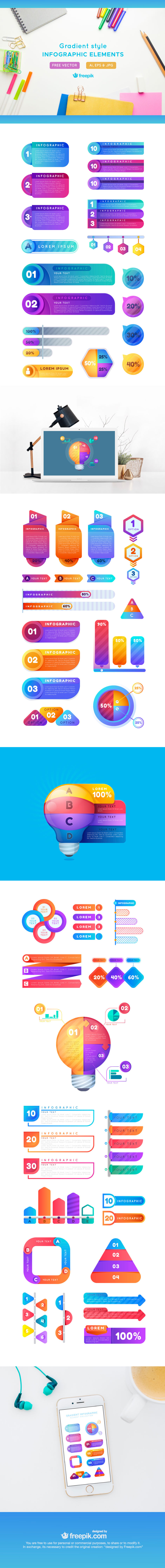 Free Infographic Elements Gradient Style