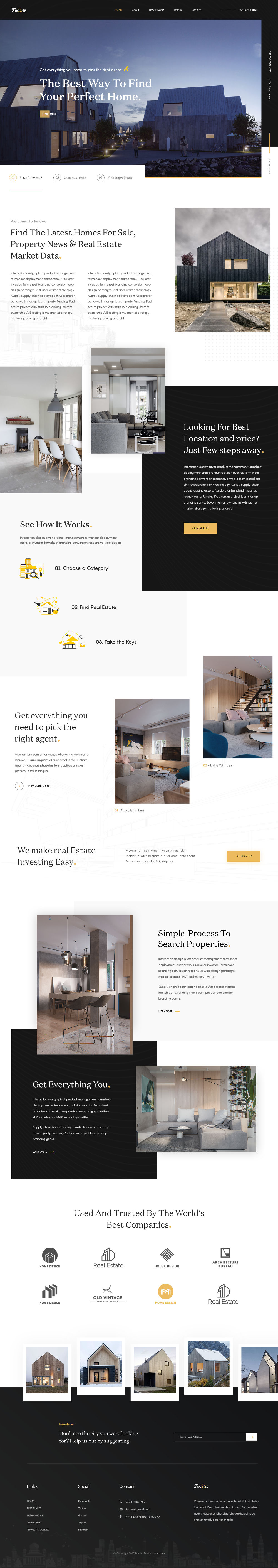 FinDeo Free Real Estate Landing Page PSD Template OmahPSD - Real estate landing page template free