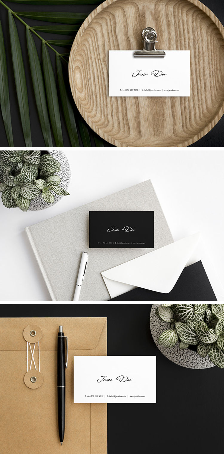 Free Scandi Minimalist Business Card Mockup