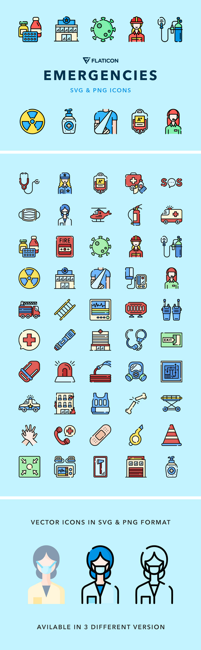 Emergencies Vector Icons (3 Versions, SVG, PNG)