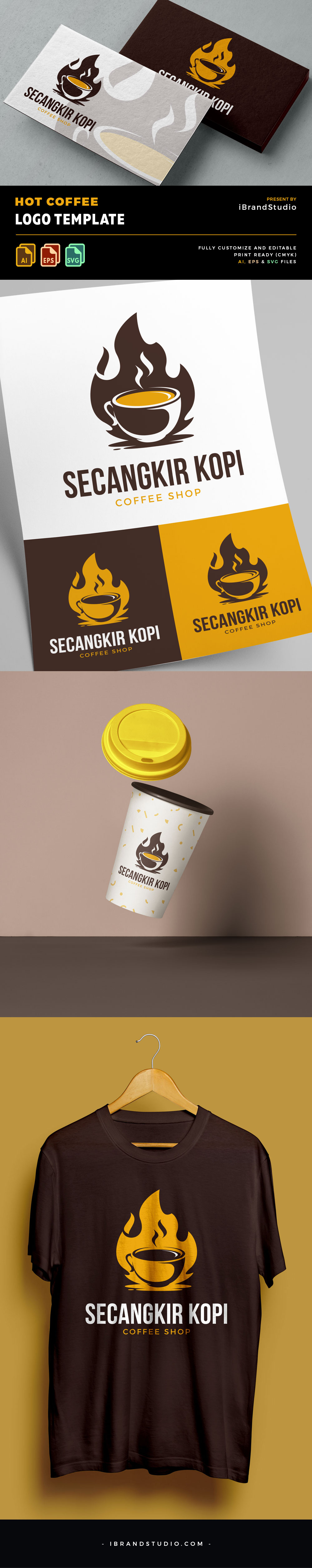Free Hot Coffee Logo Template