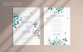 Floral Wedding Invitation & Menu PSD Template