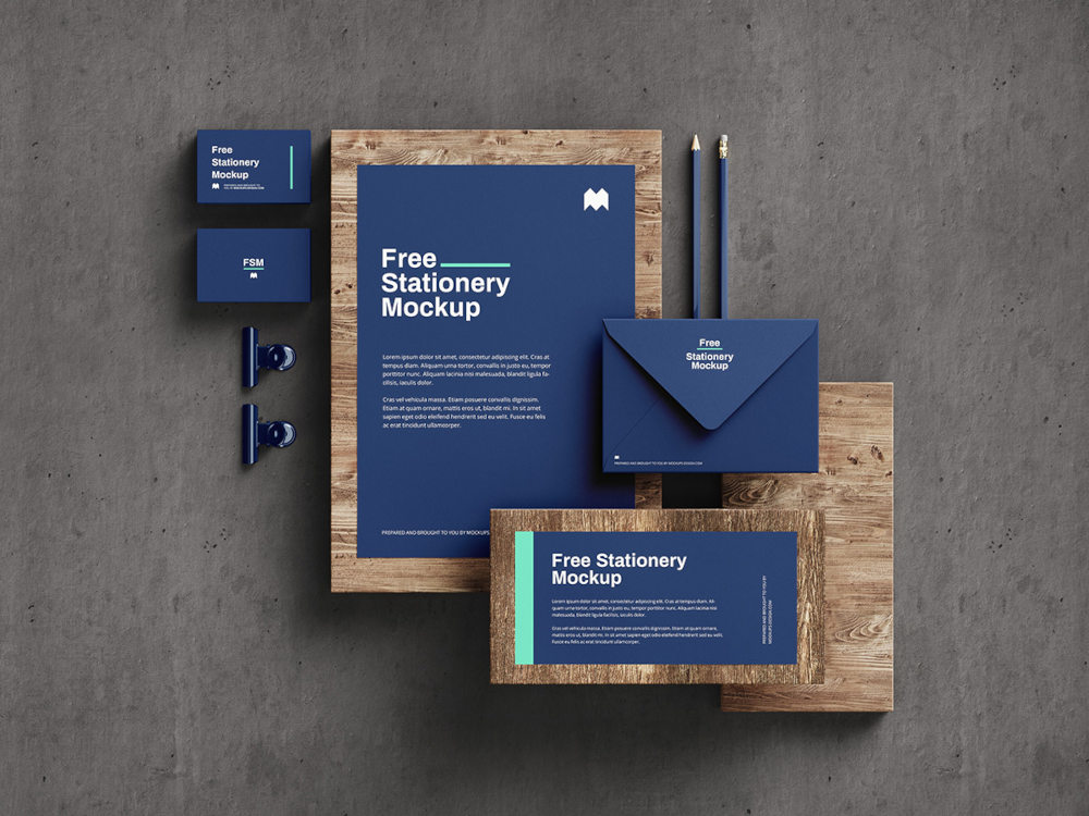 Free Stationery Mockup Preview Angle 5