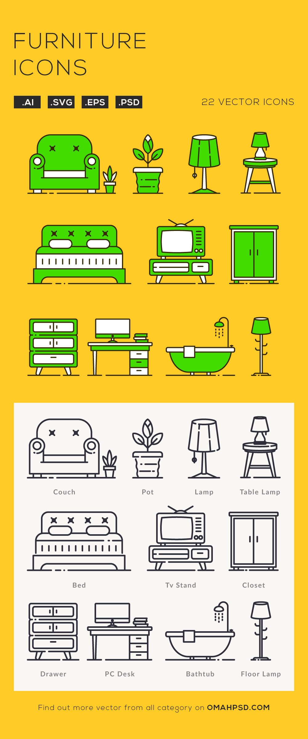 Free Furniture Icons Preview