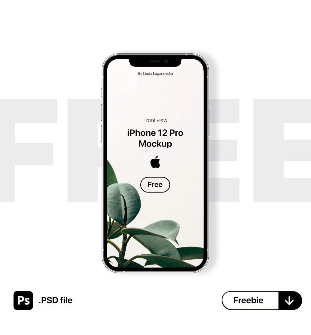 Free iPhone 12 Pro Mockup - Front View (PSD)