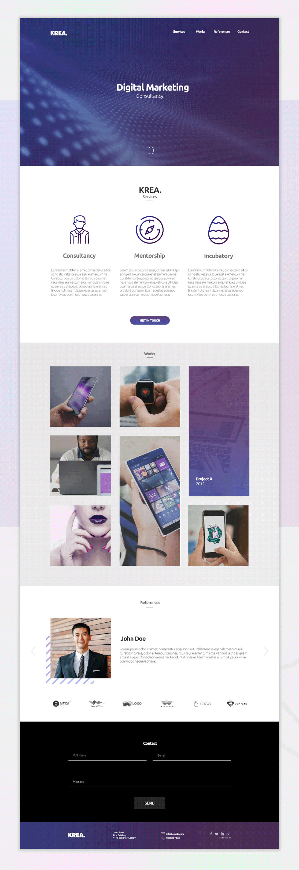 Krean - Free One Page Template (PSD, HTML) - Preview