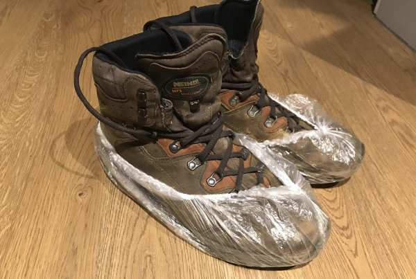 Plastic hairnet on my hiking shoes