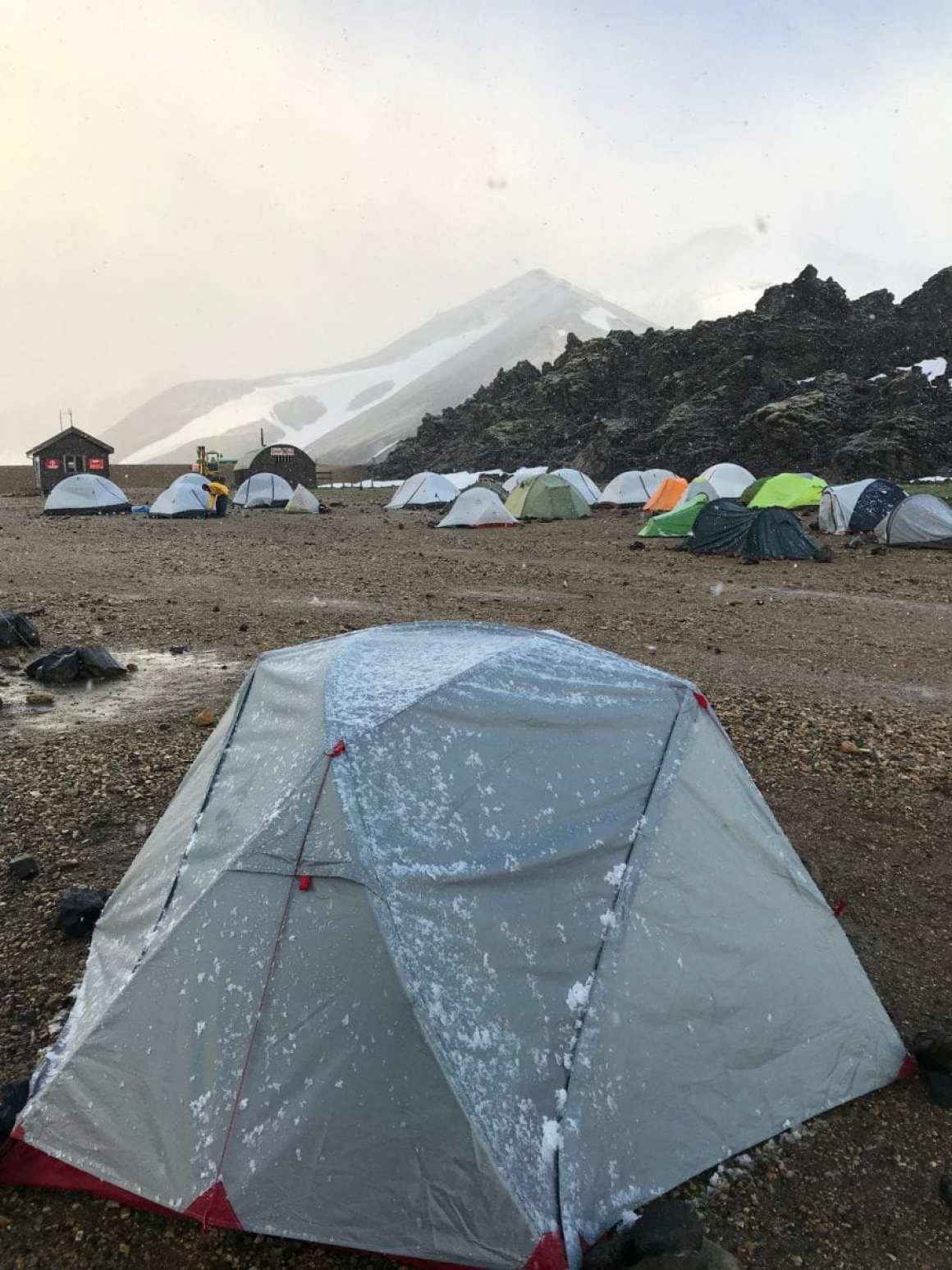Frozen tent at Laugavegur trail