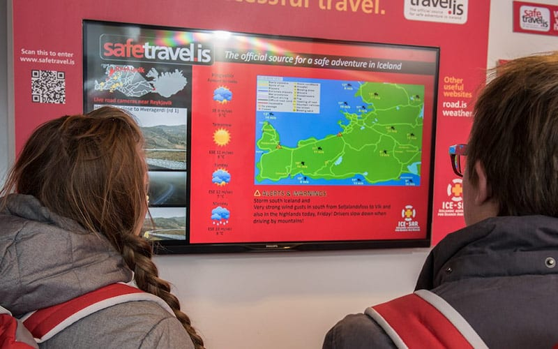 One of the SafeTravel screens in the travel hubs - Photo by HappyCampers.is