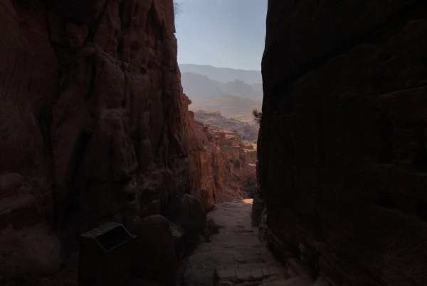 Walking through Petra in Jordan