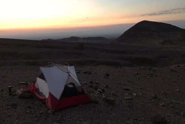 Camping at the end of day 1 on the Jordan Trail