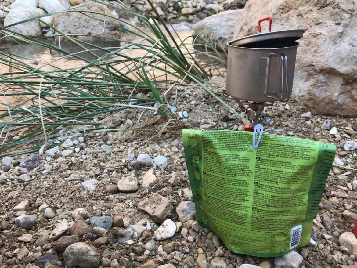 Hairclip to close pouch - cooking on the Jordan Trail