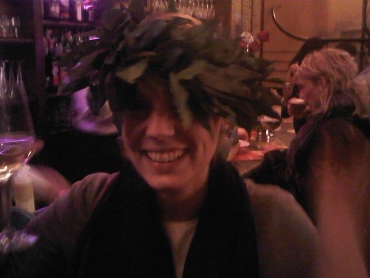 Marieke with one of the stolen laurel wreaths in Siena