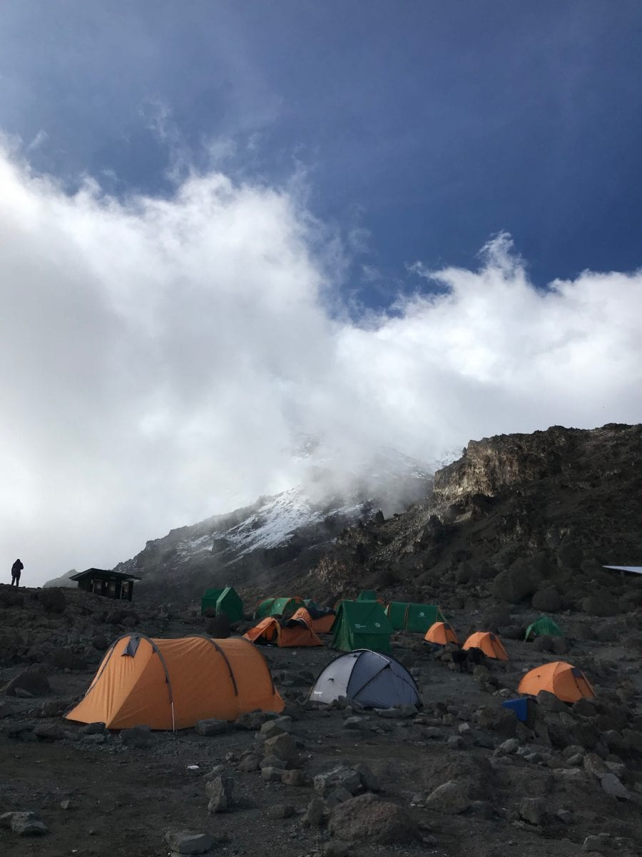 Camp with summit view
