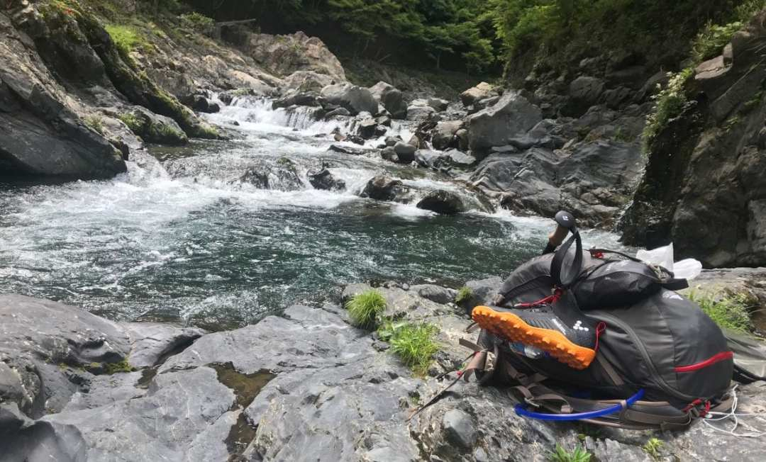 Chilling at a river in Japan on the Kumano Kodo
