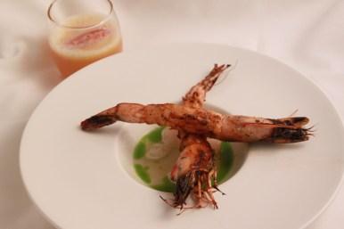 Blackened White Shrimp, Tomato Ice, Lemon Laurel Oil Nitrogen Cooled Hurricane, Uniq Soda
