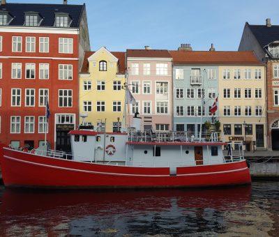 Casas coloridas em Copenhagen na Dinamarca