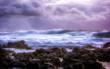 Sandy Beach during storm - Hawaii