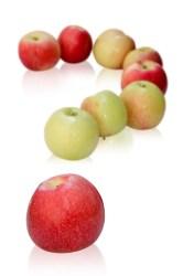 point interrogation en forme de pomme, fruit préféré des français