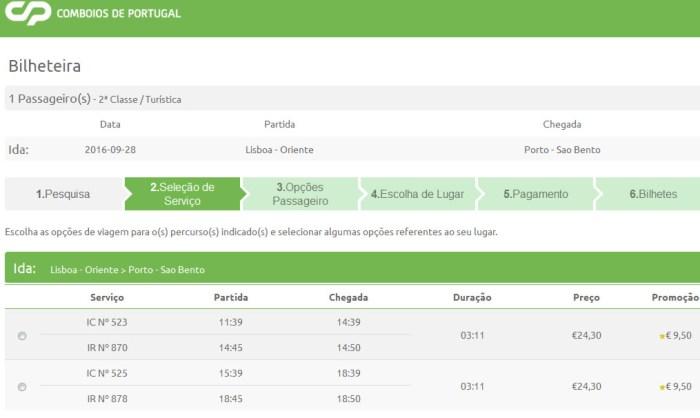 Passagem de trem em Portugal