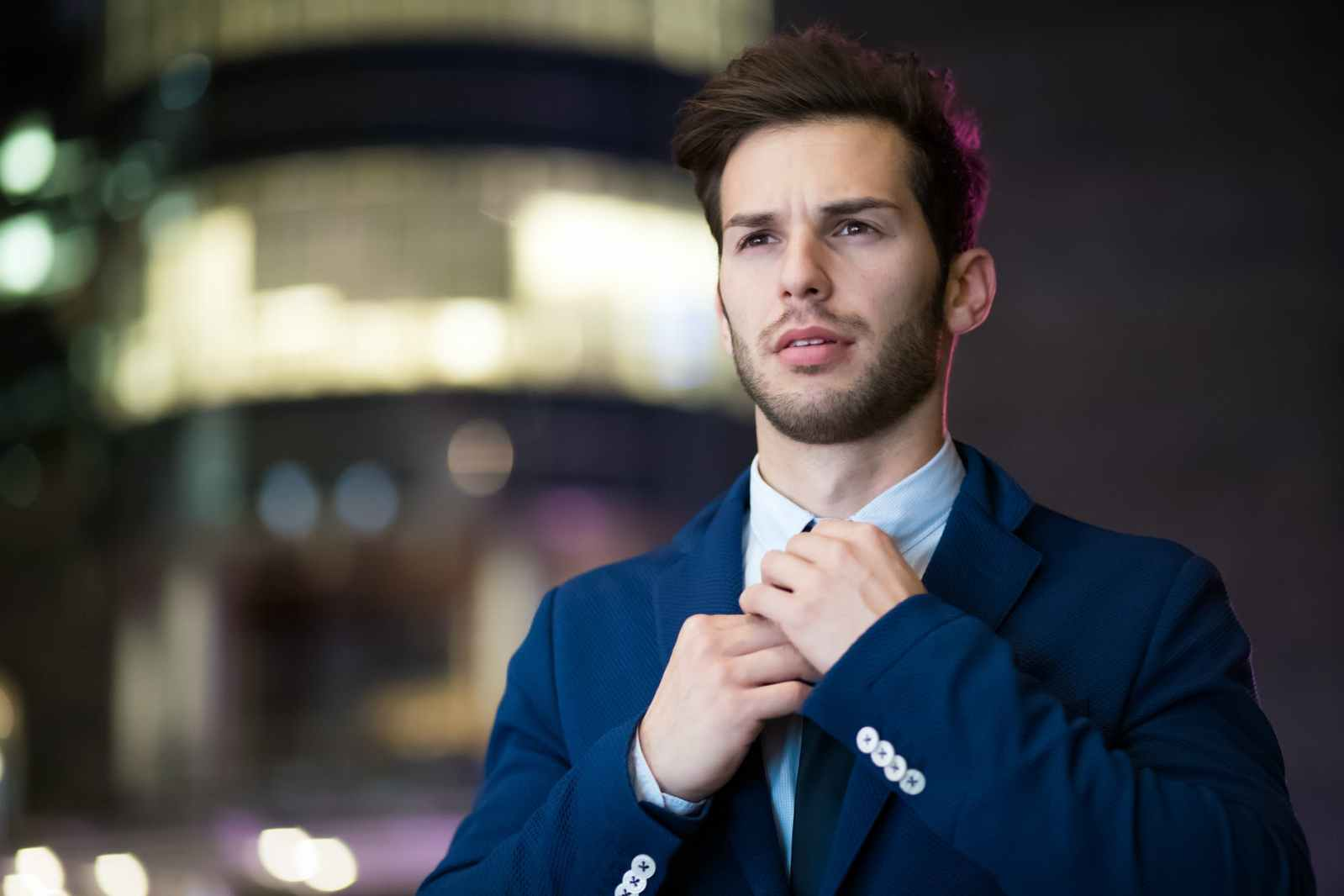 man wearing blue suit
