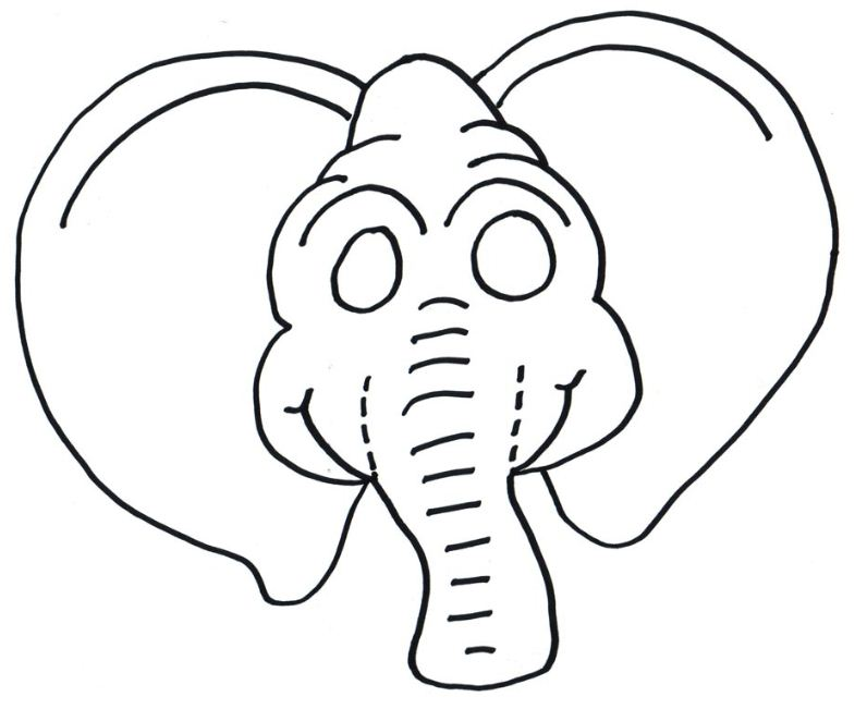 elephant mask coloring pages