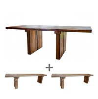 'Sunut' Reclaimed wood dining table and bench set. Stunning!