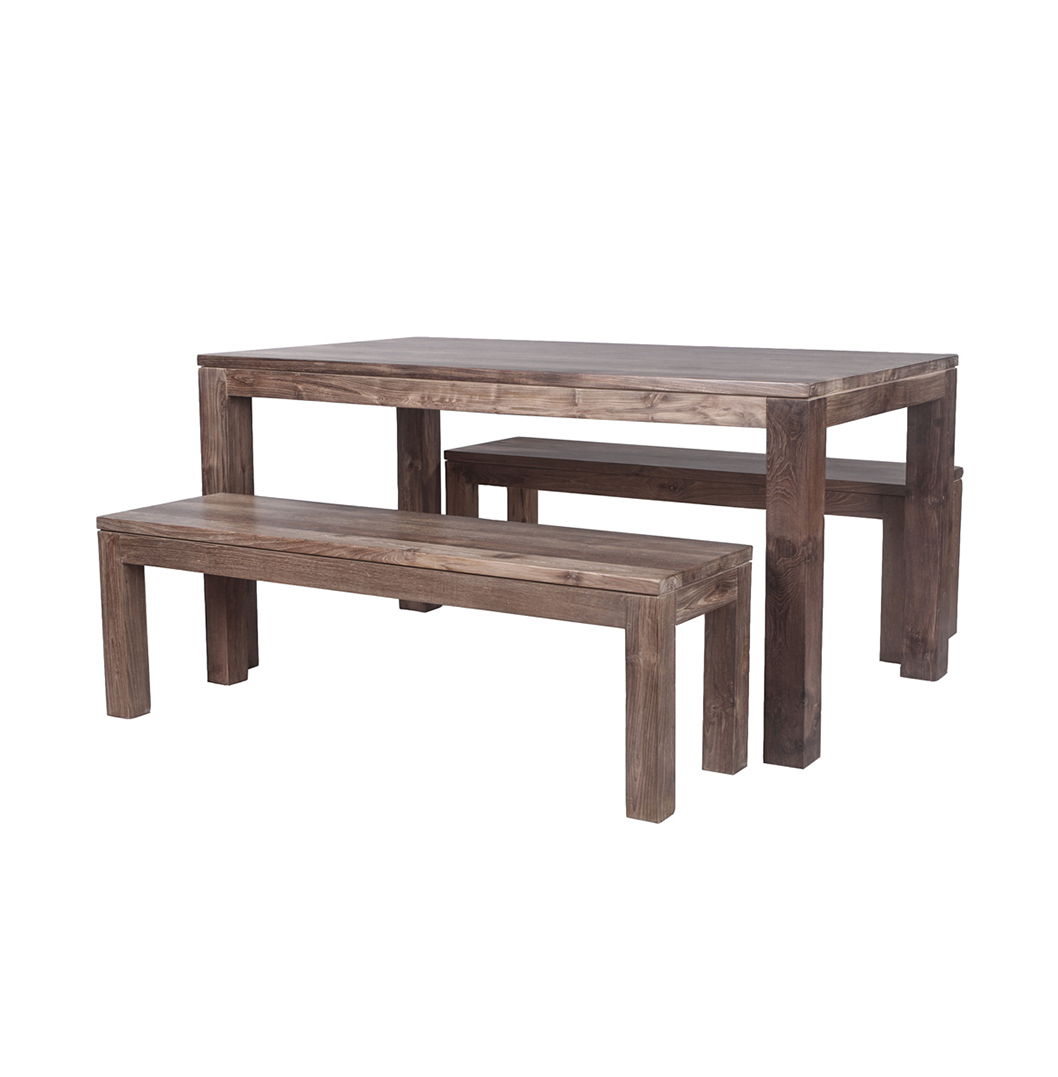 Dining Table With Bench And Chairs 39karang 39 Reclaimed Wood Dining Table And Benches Stunning