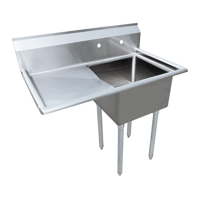 24 x 24 x 14 one tub sink with 3 5 center drain and left drain board