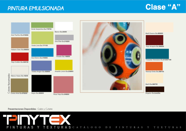 Catalogo Colores Pinturas Caucho Emulsionado Mate Clase A PINYTEX OMCORP