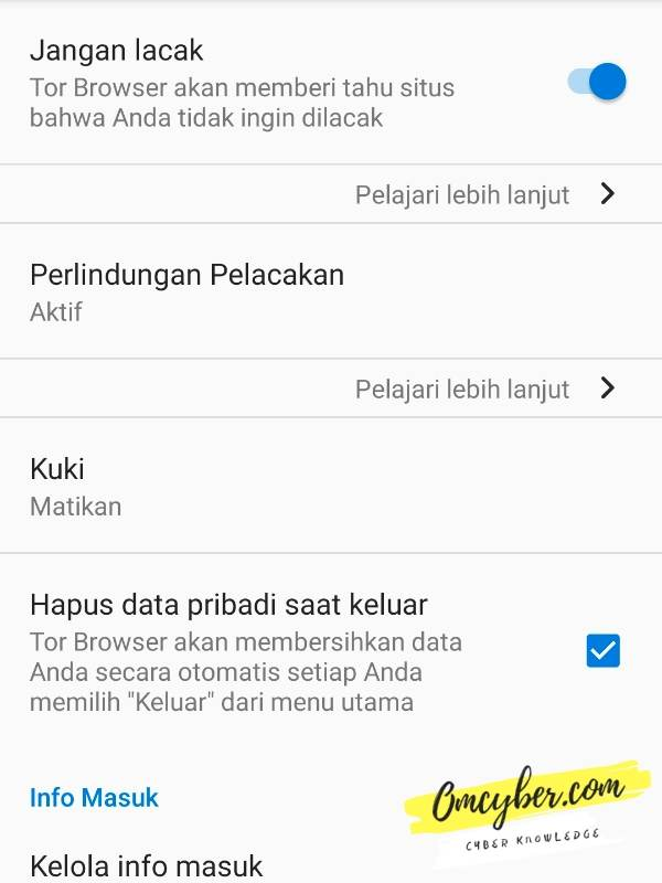 pengaturan privasi tor browser