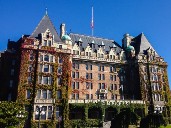 Exterior view of the Empress Hotel in Victoria BC
