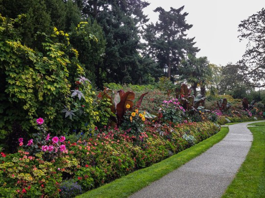 Walking path with flowers in Victoria BC park