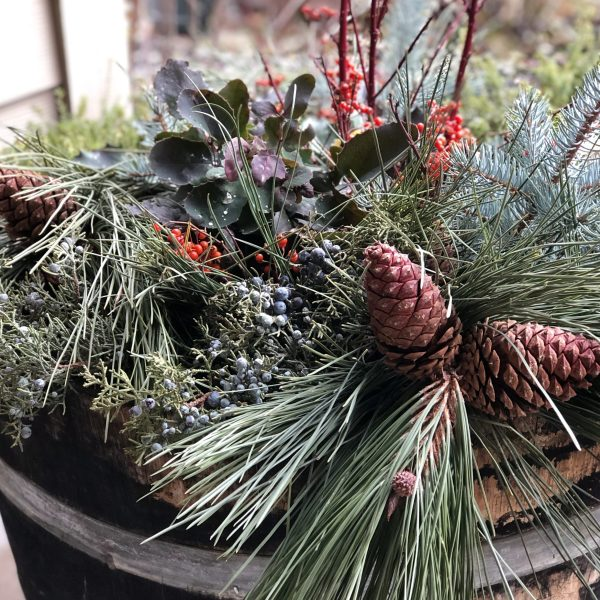 Winter outdoor porch planter design