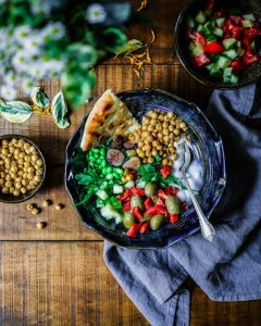 picture of food with salad and beans