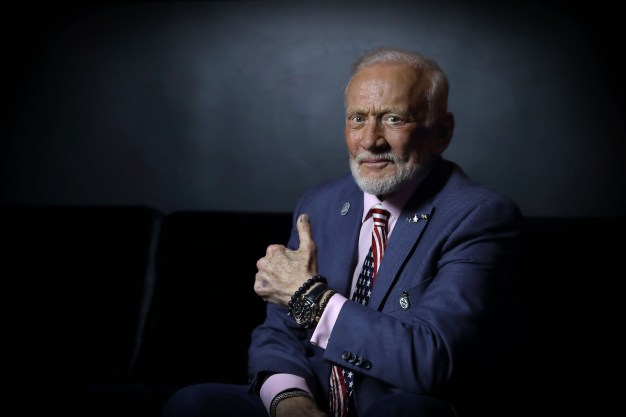 RIO DE JANEIRO, BRAZIL - AUGUST 10: Buzz Aldrin photographed before Cocktails In Space night at OMEGA House Rio 2016 on August 10, 2016 in Rio de Janeiro, Brazil. (Photo by Mike Marsland/Mike Marsland/WireImage) *** Local Caption *** Buzz Aldrin