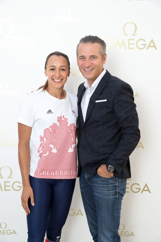 RIO DE JANEIRO, BRAZIL - AUGUST 14: OMEGA Ambassador Jessica Ennis-Hill and President Of Omega Raynald Aeschlimann pictured at OMEGA House Rio 2016 on August 14, 2016 in Rio de Janeiro, Brazil. (Photo by Mike Marsland/Mike Marsland/WireImage) *** Local Caption *** Jessica Ennis-Hill; Raynald Aeschlimann