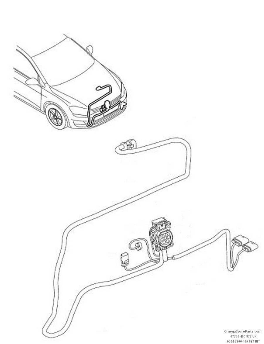 5G0971509N VW Golf Charging Plug Wiring Harness Front
