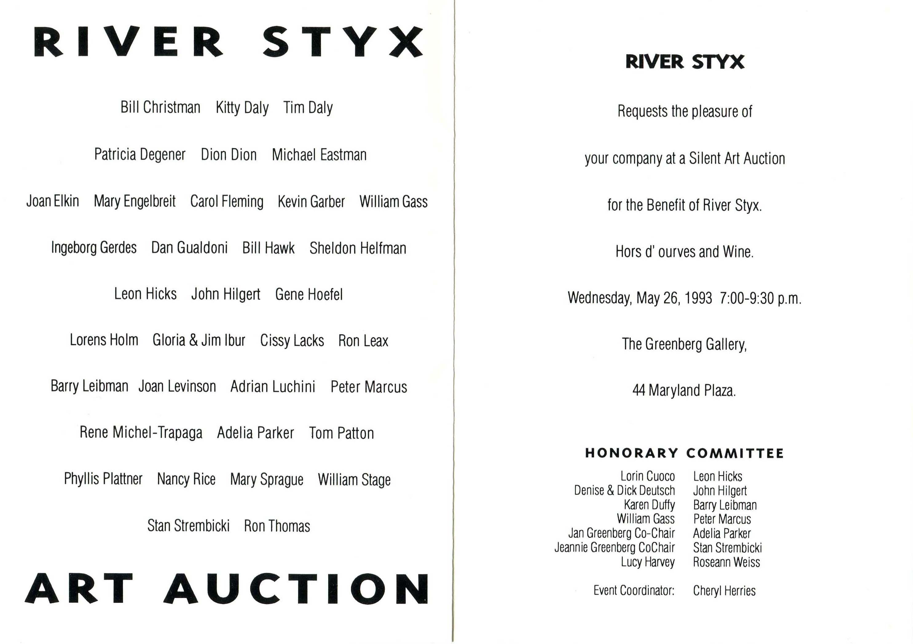 River Styx Silent Art Auction Invitation · WUSTL Digital