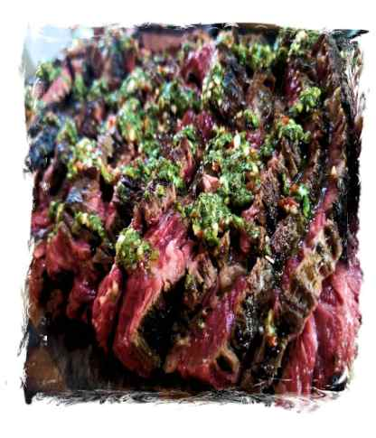 Flank Steak flavoured with Adobo Loco & Chimichurri Sauce
